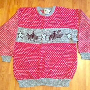 VTG 80s Cowgirl Up Oversized Sweater